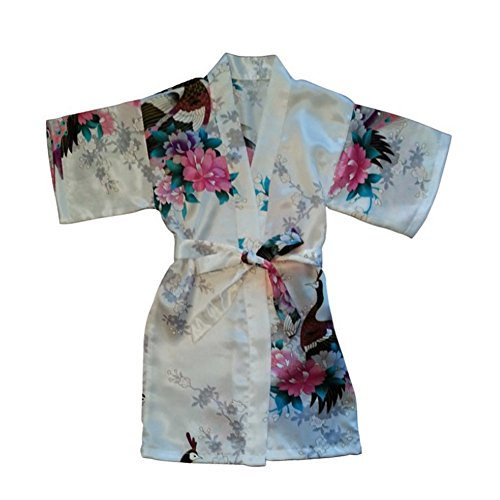 Price comparison product image Awind Girls' Bird & Flower Satin Kimono Wrap Sleepwear Robe Bathrobe Short White 4