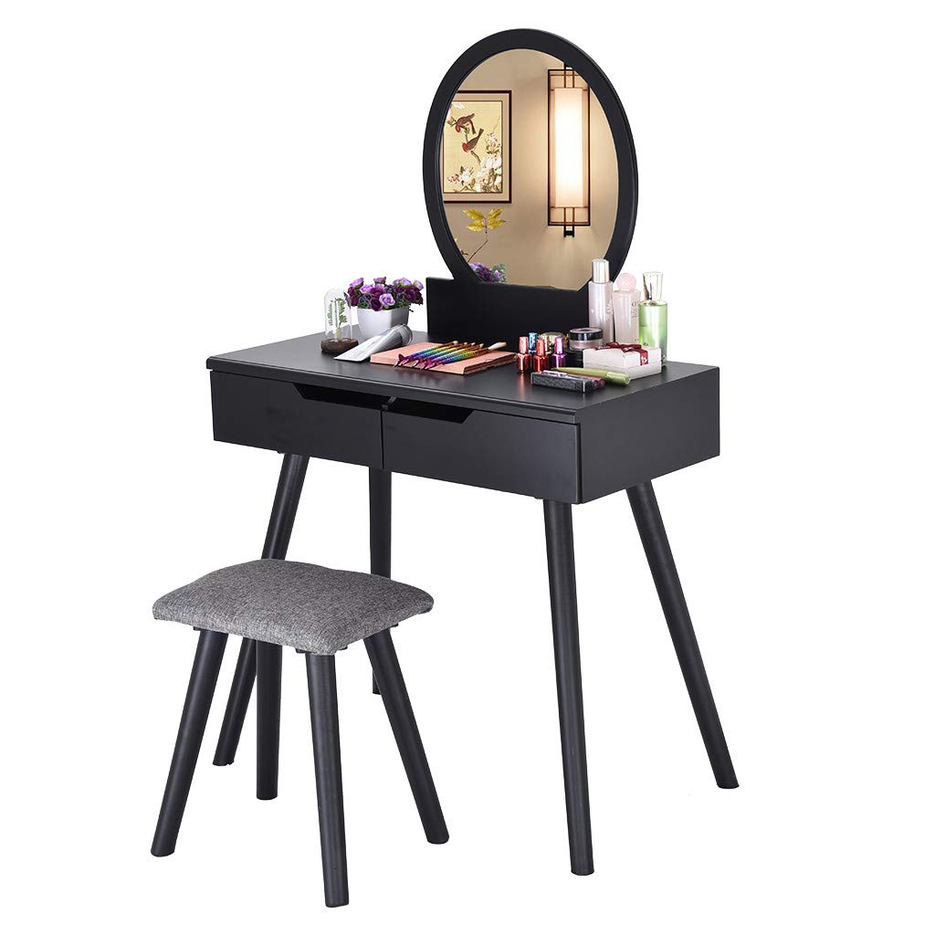 Basde Vanity Set Beauty Station Makeup Table and Wooden Stool Set, Vanity Table Set with Round Mirror 2 Large Sliding Drawers Makeup Dressing Table with Cushioned Stool (Black)