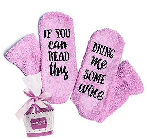 """Luxury Wine Socks """"If You Can Read This Bring Me Some Wine"""" with Cupcake Gift Packaging - Funny Novelty Socks, Wine Lovers Gifts for Women – Unique Mother's Day Gift Idea - Wife Birthday Present"""