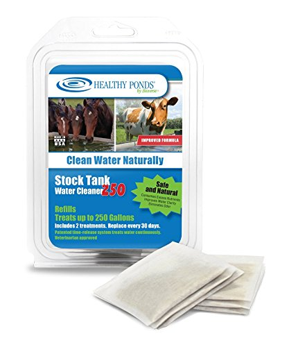 Healthy Ponds 52550 Refills for Stock Tank Water Cleaner 250; 2 30-day refills treat up to 250 gallons for 60 days