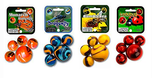 Mega Marbles Insects Themed Set 4-Pack with Monarch Butterfly, Dragonfly, Bumblebee and Ladybug - 100 Colorful Glass Marbles - Each Net Includes 1 Shooter and 24 players