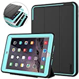 iPad 9.7 6th/5th Generation Case - SEYMAC 3-Layer Heavy Duty Shockproof Protective Case with Multi-Angle Viewing Stand Smart Cover Auto Sleep/Wake for iPad 5/6 Case 9.7'' 2018/2017 Black/Light Blue