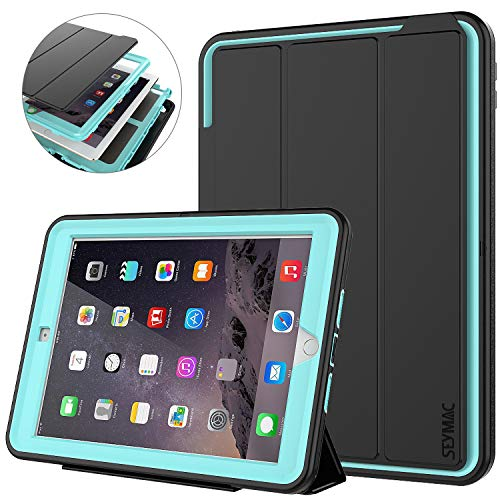 (iPad 9.7 6th/5th Generation Case - SEYMAC 3-Layer Heavy Duty Shockproof Protective Case with Multi-Angle Viewing Stand Smart Cover Auto Sleep/Wake for iPad 5/6 Case 9.7'' 2018/2017 Black/Light Blue)