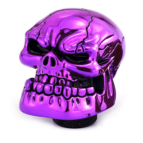 Shift Skull - Thruifo Skull Gear Stick Shift Knob, Big Teeth Devil Head Shape MT Car Shifter Fit Most Manual Automatic Vehicles, Purple