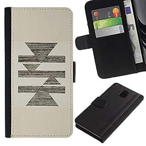 KingStore / Leather Etui en cuir / Samsung Galaxy Note 3 III / Abstract Pencil Sketch Triángulo Pirámide Beige