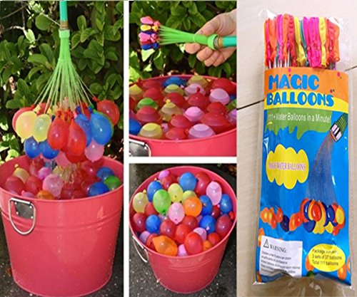 Summer Outdoor Party Water Balloon Bombs Happy Children Playing in the Water Toys, 100 water balloons ready to in one minute (3 Sets Total 111 Pcs)