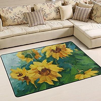WOOR Sunflowers Illustration Living Area Rugs for Living Room Bedroom Dining Office 6 x 4 Feet Modern Floor Mat Home Decor