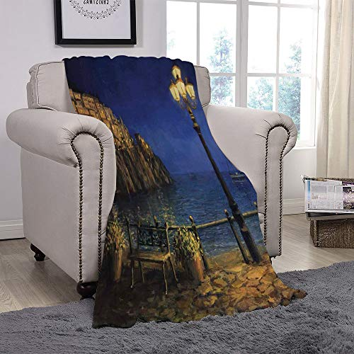 YOLIYANA Light Weight Fleece Throw Blanket/Italy,Starry and Romantic Evening at The Coast of Amalfi in Italy Oil Painting Style,Navy Blue Brown/for Couch Bed Sofa for Adults Teen Girls ()