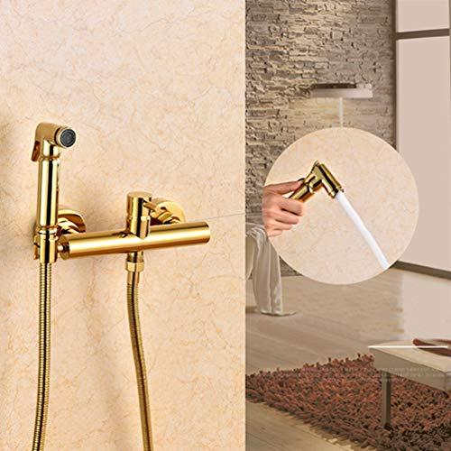 FZHLR Bidet Faucet Set Brass Hot & Cold Golden Toilet Corner Valve Hand Held Shower Head Wash Car Pet Sprayer Mounting Hole Distance 15Cm