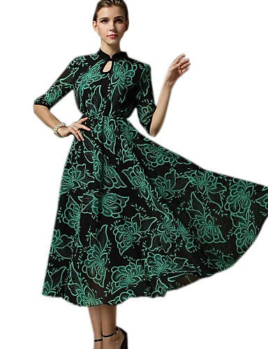 PU&PU Robe Aux femmes Swing Vintage / Décontracté , Imprimé Licou Maxi Mousseline de soie / Dentelle , green-xl , green-xl