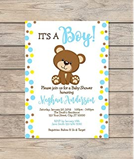 Amazoncom Chevron Teddy Bear Baby Shower Invitations Teddy Bear