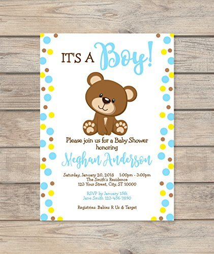 Amazon boy teddy bear baby shower invitation custom blue dots boy teddy bear baby shower invitation custom blue dots baby teddybear invite baby boy filmwisefo