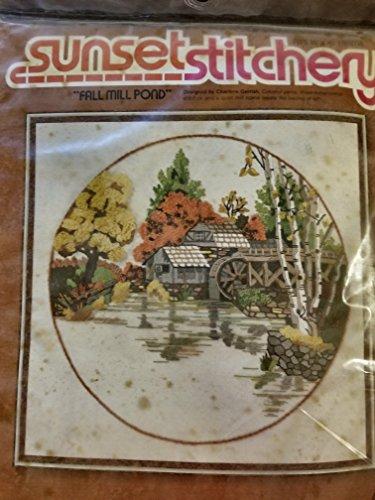 Sunset Stitchery Fall Mill Pond Embroidery Kit