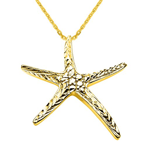 Solid 14k Yellow Gold Cute Starfish Necklace, (14k Gold Starfish Necklace)