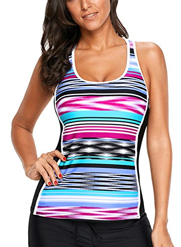 Aleumdr Womens Striped Print Racerback Summer Push up Tankini Swim Top No Bottom Purple Plus Size Swimwear 2XL 18 20