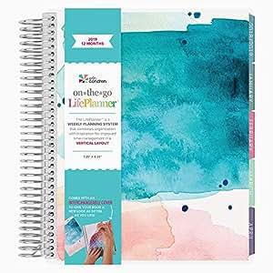 Erin Condren 2019 12 Month (Jan 2019 - Dec 2019) LifePlanner, Watercolor Splash Teal - Vertical (Colorful Layout)