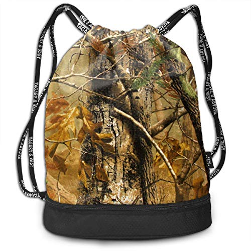 Hunting Camo Drawstring Bag Sport Travel Sackpack Large Capacity Beam Backpack, Home Travel Storage Use Gift For Men & Women, Girls Boys ()