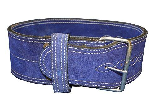 Leather Power Weight Lifting Belt Blue Single Buckle (Medium 26-33″)