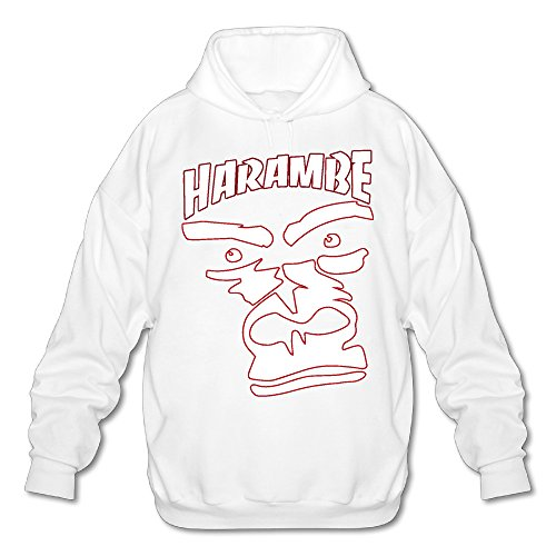 Harambe Rip Face Men's Fleece Hoodie Adult Sweater White L