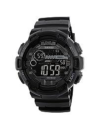 SKMEI Reloj para Hombre, Digital, Deportivo y Militar, Retroiluminación, Resistente al Agua, con Cronómetro, Alarma y Fecha, Modelo 1243. Negro