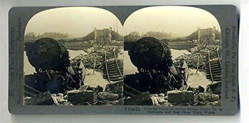 - Ruins Marne Bridge Blown By Germans & Red Cross Train Wreck Keystone Stereoview