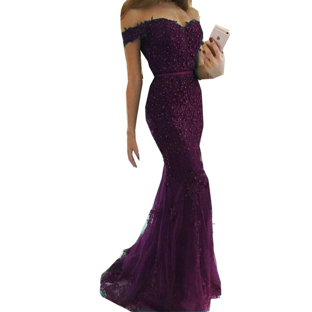 Ldark Plum Lemai Off The Shoulder Beaded Lace Appliques Prom Dress Evening Gown 2018