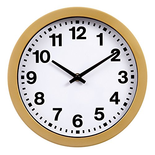 Patton Wall Decor 9 Inch Round Gold Wall Clock with Bold Numbers (Gold White White Clock)