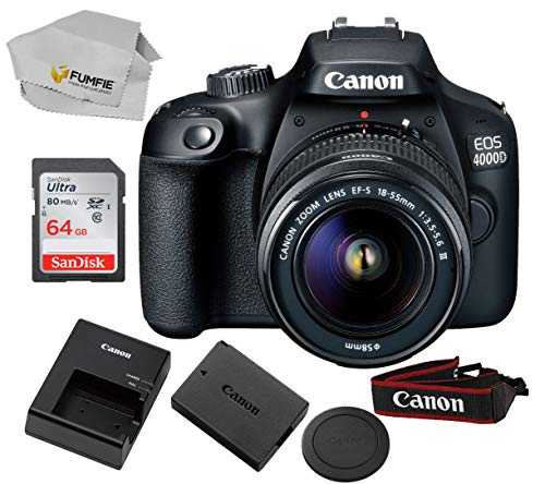 Canon EOS 4000D (Rebel T100) with 18-55MM DC III Lens Kit + Includes Free SanDisk Ultra 64GB SDHC Class 10 Card