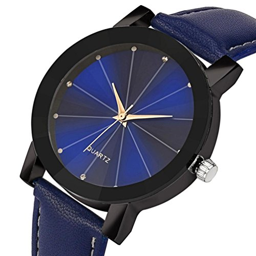 AutumnFall Needle Buckle Quartz Sport Military Stainless Steel Dial Leather Band Wrist Watch for Women Men ()