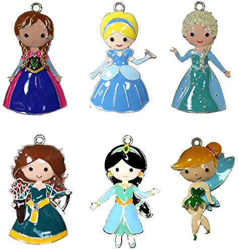 Chunky Princess Pendant Lot for Bubblegum Necklaces and Crafts 6 Enamel Charms Set 2 ()