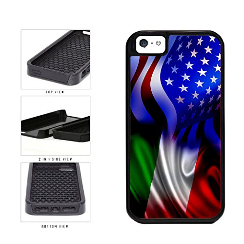 BleuReign(TM) Italy and USA Mixed Flag 2-Piece Dual Layer Phone Case Back Cover Apple iPhone 5 5s and iPhone SE