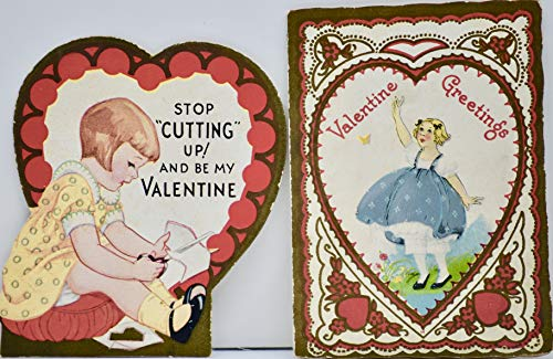 Valentine Day Cards - 2 Cards - Vintage from 1915 - Valentine Greetings/Stop Cutting Up & Be MY Valentine - Over 100 Years Old - Collectible