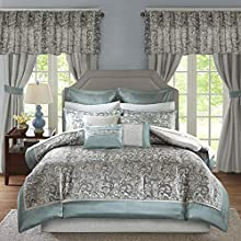 Madison Park Essentials Brystol 24 Piece Room in a Bag Faux Silk Comforter Jacquard Paisley Design Matching Curtains - Down Alternative Hypoallergenic All Season Bedding-Set, King, Teal