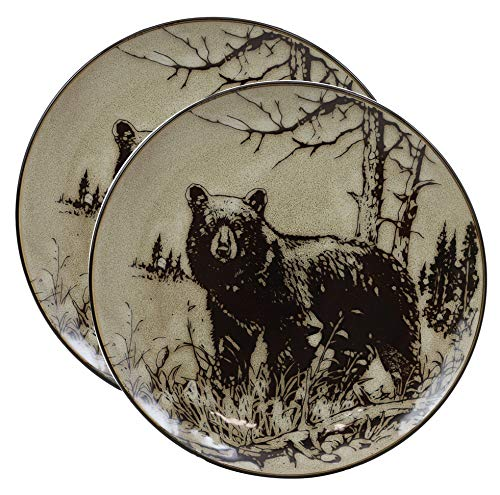 Ebros Animal Wildlife Woodland Forest Black Bear Abstract Art Round Salad Or Appetizer Or Dessert Plate Set of 2 8.5