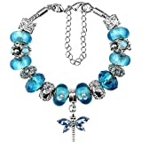 Duchy Glass Beads Charm Bracelets and Charms for Women Year of the Rooster 7.5 inch DIY Sky Blue Jewelry