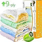 "Baby Washcloths - Muslin Washcloth Pack - 9-ply 12""x12"" Ultra Soft Baby Muslin Washcloths for Kids - Organic Washcloths bulk - Baby Bath Towel set - Baby Bath Towels - Infant Newborn Kids Washcloths"