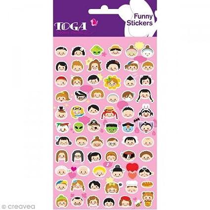 Toga SFG13 T/êtes rigolotes filles et gar/çons Planche de sticker Plastique Multicolore 9,5 x 18,5 x 0,2 cm