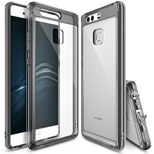 Ringke [Fusion] Compatible with Huawei P9 Crystal Clear PC Back TPU Bumper [Drop Protection, Shock Absorption Technology][Attached Dust Cap] Protective Cover Huawei P9 Case- Smoke Black