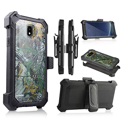 for Samsung Galaxy J7 2018 / J7 Refine / J7V 2nd Gen / J7 Star / J7 Top Case, w/Built-in [Screen Protector] Heavy Duty Full-Body Armor Case Belt Clip Holster Kickstand (Camo) -