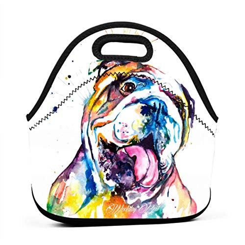 - LKJDAD Multi-Color Watercolor Chinese Crested Dog Lunch Bag, Thick Insulated Lunchbox Bags,Tote Box with Zipper Closure for Kid Travel Picnic Office