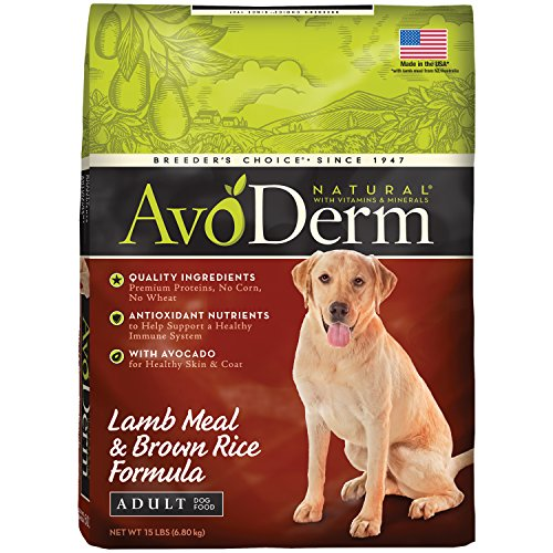 AvoDerm Natural Lamb Meal & Brown Rice Formula Dry Dog Food, 15-Pound