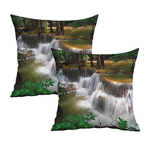 Khaki home Nature Square Throw Pillow Covers Waterfall in Thailand Square Slip Pillowcase Cushion Cases Pillowcases for Sofa Bedroom Car W 24