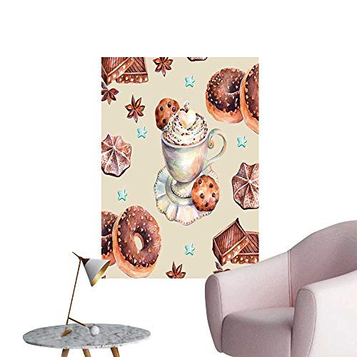 Vinyl Artwork ati Chocolate UTS Marshmallows and Pattern Brown and Beige Easy to Peel Easy to Stick,24