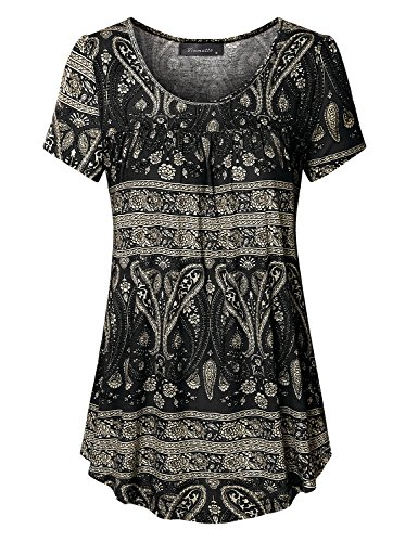 Vinmatto Women's Scoop Neck Pleated Blouse Top Tunic Shirt(XL,Multi Black)