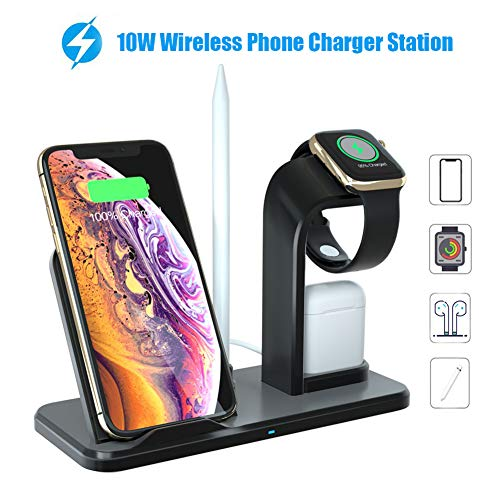 Lenture 4 in 1 Wireless Charger Stand Station, 10W Fast Wireless Charging Dock Compatible with iPhone Xs/Xs Max/XR/X /8/8 Plus/Apple Watch Series 4/3/2/1/AirPods (Black) ()