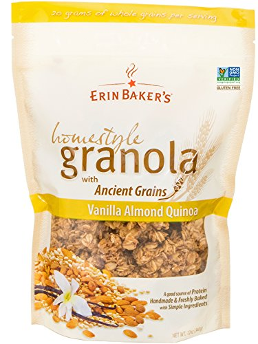 Erin Baker's Homestyle Granola, Vanilla Almond Quinoa, Gluten-Free, Ancient Grains, Vegan, Non-GMO, Cereal, 12-ounce bag