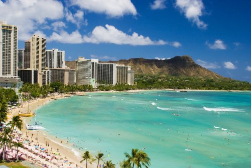 Waikiki Beach Diamond Head Honolulu Hawaii Canvas Frame Giant XL Poster Art Photo Tropical Beaches Xtra Large Posters 32x48 by Perfect Posters and Pics