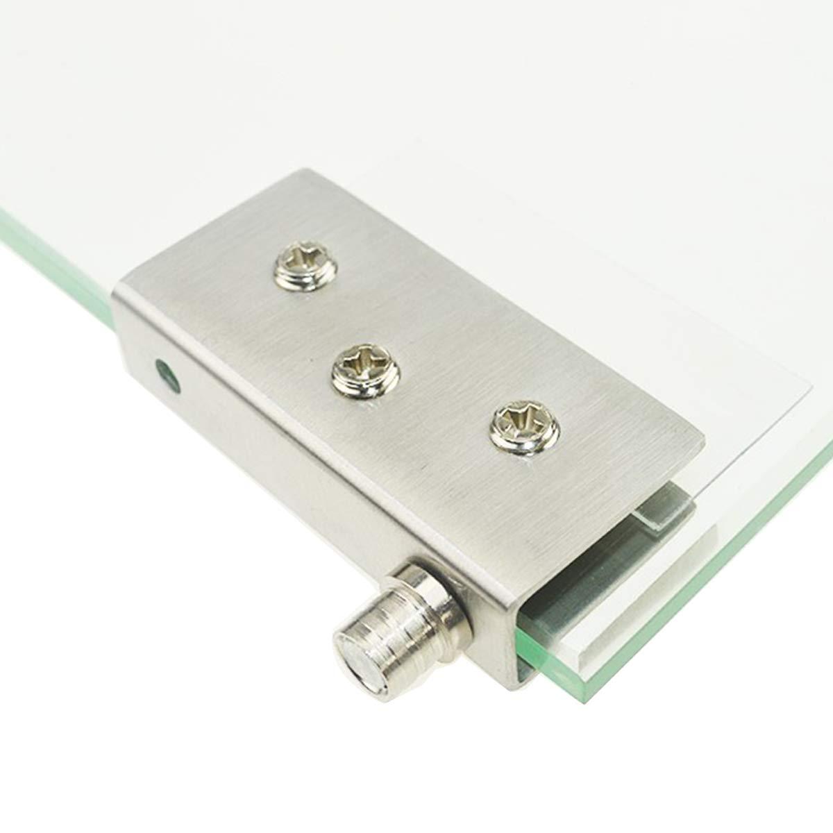 acero inoxidable apto para vidrio de 5-8 mm vidrio sin perforaci/ón Paquete de 4 bisagras para puertas de vidrio Bisagra pivotante de 90 /°