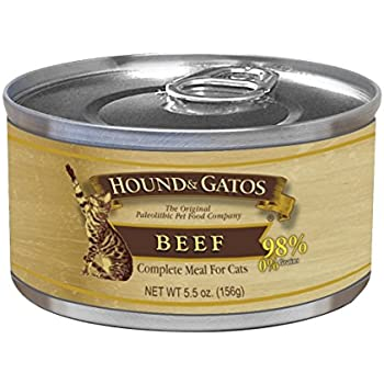 Hound & Gatos Pet Food Beef Formula Canned Cat Food, 5.5 Oz., 24-Pack