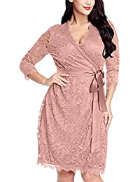 Grapent Womens Plus Size Floral Lace 3/4 Sleeves Formal...